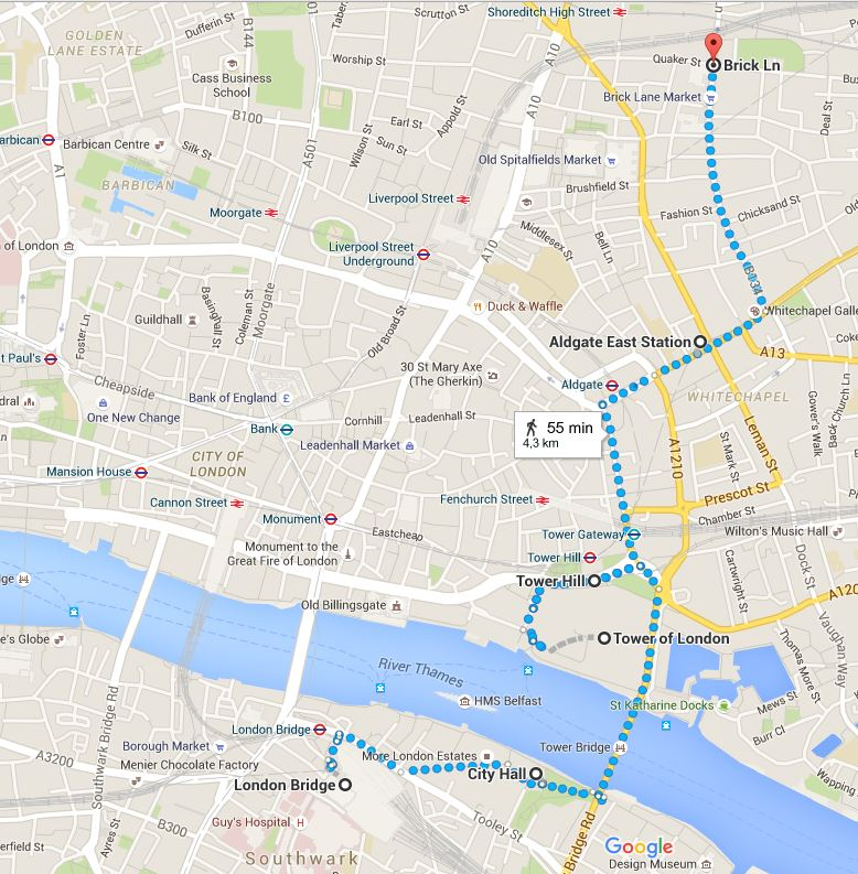 London itinerary - London Bridge to Brick Lane