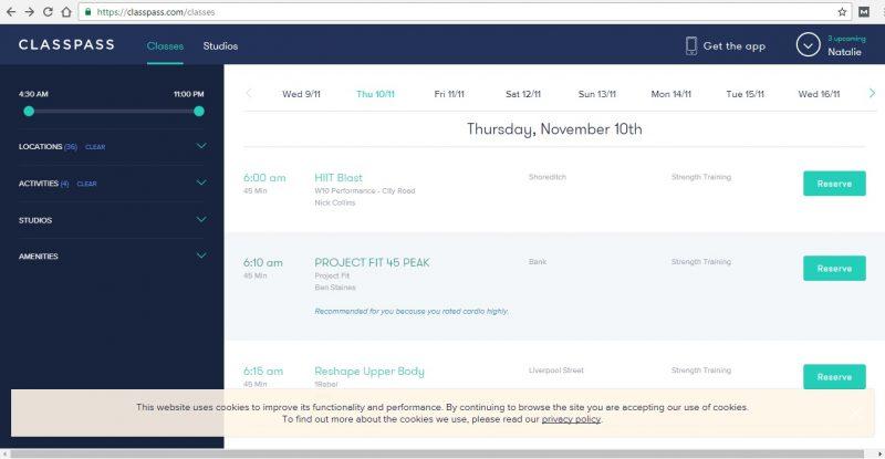 Classpass Online bookings