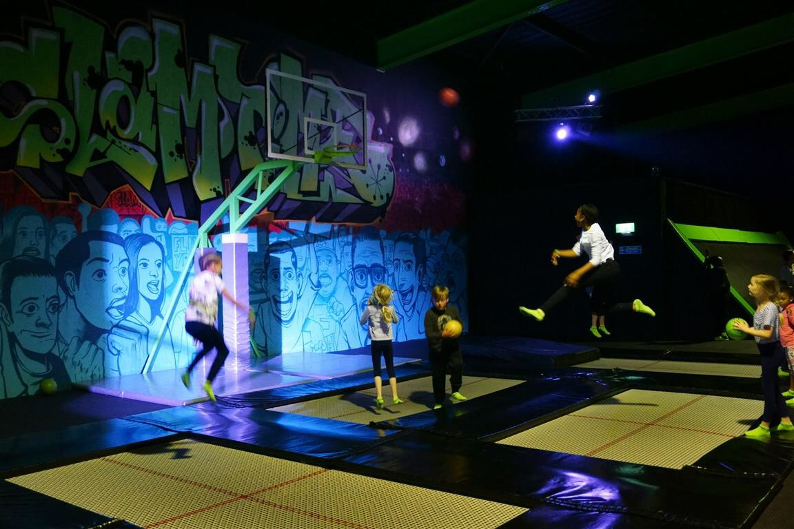 Bouncing around on London Flip Out Trampolines